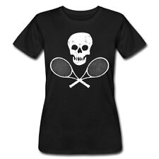 Skull & Tennis Racquets, white scratched Women's T-Shirt by American Apparel by