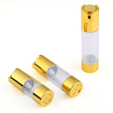 15/30/50ml Empty Cosmetic Airless Bottle Pump Skincare Container Holder Gold Cap
