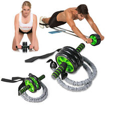 AB Abdominal Exercise Roller Gym Tone FitnessTraining Roller with Resistant Band