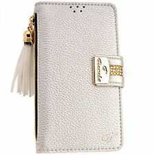 Luxury SILVER PU Leather Flip Wallet Purse Case Card Holder for iPhone 7 7S Plus