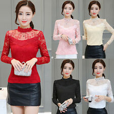 New Fashion Women Long Sleeve Lace Shirts Stand Collar Tops Casual Slim Blouses
