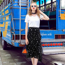 Women Chiffon Stretch High Waist Flouncing Maxi Dress Flared Pleated Long Skirt
