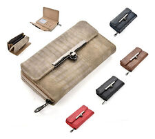 Ladies Leather Wallet Womens Purse Clutch Handbag Bag Croc Print Envelope Long
