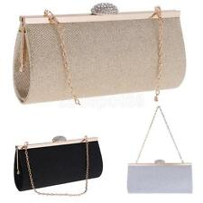 Glitter Crystal Evening Clutch Bag Handbag with 2 Removable Chain Straps