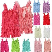 Cute Baby Toddler Girls Summer Layered Lace Ruffle Petti Tiered Bowknot Romper