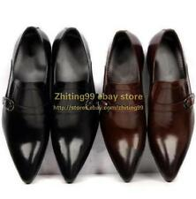 fashion US5-11 Shoes mens pointy toe Buckle Formal Dress Genuine Leather shoes