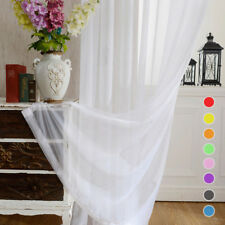 Solid White Sheer Curtains Rod Pocket Simple Voile 1 Panel Organdy Tulle Divider