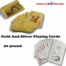 £50 Pound 24k Gold Silver Playing Cards Poker Magic Decks 54 Card Casino Gift