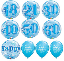 Boys Male Blue Happy Birthday/Aged Bubble Balloon with 6 Pack Latex Balloons