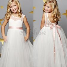 Girls Dress lace Sleeveless Princess Bridesmaid Wedding Party Prom Pageant Gown