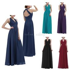 Long Chiffon V Neck Evening Party Dresses Women Lady Bridesmaid Formal Prom Gown