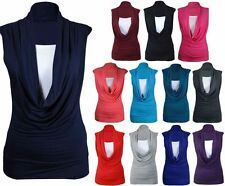 Womens Sleeveless Cowl Neck Shirt Ladies Gathered Long Fancy Party Vest Top