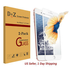 NEW 2x Full Coverage Premium Tempered Glass Screen Protector Film for iPhone 7