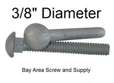 """Galvanized Carriage Bolts 3/8"""" -16 x 4-1/2"""" (100) wwo Hex Nuts & Flat Washers"""