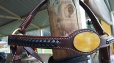 Barcoo bridle ri12b barcoo with brass oval name plate platted brow band