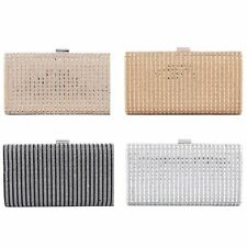 Ladies Crystal Diamante Shimmer Hard Case Evening Party Wedding Prom Clutch Bag