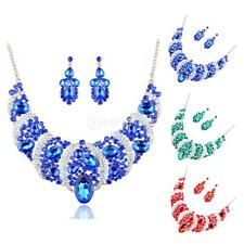 Wedding Bridal Bride Rinestone Crystal Flower Necklace Earrings Jewelry Set