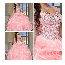 New Beaded Formal Quinceanera Prom Party Ball Gown Wedding Dress Custom Size