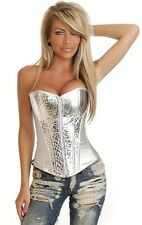 CORSET CORSAGE SILVER TOP EVENING VINYL PVC SYNTHETIC LEATHER SEXY LINGERIE 8288