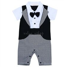 Baby Boy Wedding Formal Tuxedo Suit Romper Clothes Outfit Gentleman Set 0-18M