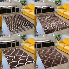 Rug Brown Living Room Designer Pattern Stars Checkered Ornaments Selection NEW