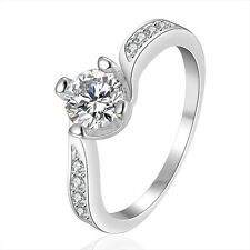 Wedding Rings Fashion Jewelry Silver Plated Unique Gift Free Shipping Size 7 8