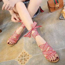 Womens Open Toe Flat Plaid Strappy Roman Sandals Athleisure Hollow Out Shoes