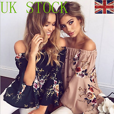 UK Women Off Shoulder Floral Tube Top Oversize Plus Size Long Bell Sleeve Blouse