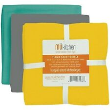 MUkitchen Flour Sack Towel, 24 by 36-Inches, Set of 3, Wharf