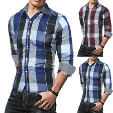 Men Clothes Slim Fit Autumn Fashion Long Sleeve Plaid Shirt Cotton Casual Shirt