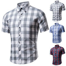 Mens Casual Button-front Shirts Plaid Slim Fit Shirt Top Short Sleeve Stylish