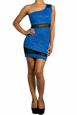 Dress Sexy Blue Floral Embossed One Shoulder Mesh See Thru Mini Stretch New