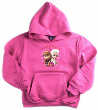 NEW GIRLS KIDS PINK FROZEN ANNA ELSA HOODIE JUMPER TOP SIZE 8-14