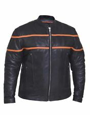 Unik Men's Motorcycle Scooter Premium Leather Jacket With Orange Strips