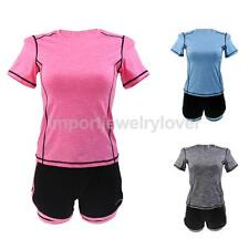 Summer Women's Casual Gym Outfit Short Sleeve Yoga Sport Sweat Suit Tracksuit