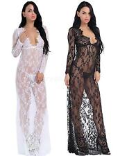 Womens Nightgown Sexy Long Sleeve Lace Floral Deep V Neck Maxi Dress Sleepwear