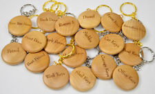 Personalised Wooden Keyring Round laser engraved with your name, text, company