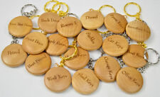 Personalised Wooden Keyring Round christmas present, house farm stables, car key