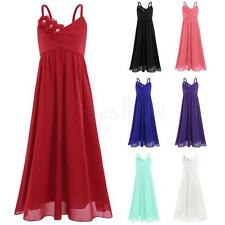 Chiffon Tulle Flower Girls Dresses Straps Pageant Wedding Bridesmaid Prom Gown