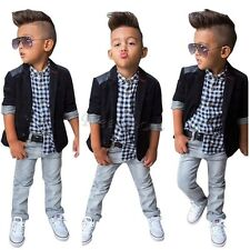 Baby Kids Fashion Boy Gentleman Jacket+Shirt +Jeans Pants Outfits Sets Clothes