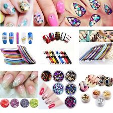 3D DIY Nail Art Water Stickers Transfers Decals Flower Sequin Bead Rhinestone
