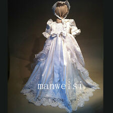 Shinny Luxury Christening Dress Antique Infant Baby Toddler Baptism Gown+Bonnet