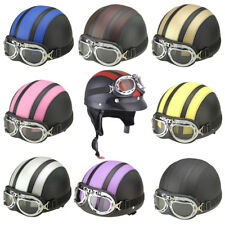Motorcycle Scooter Helmet Half Open Face With Visor UV Goggles Vintage ABS
