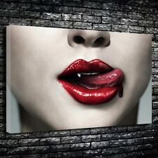 "True Blood Vampire Lips Printed Canvas A1.30""x20""- Deep 30mm Frame. Horror."