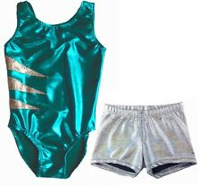 JADE & SILVER LEOTARD & SHORTS - GIRLS SIZES 2 to 16 - GYMNASTICS DANCE GYM