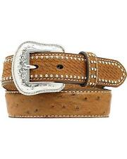 Nocona Boys' Basketweave And Ostrich Print Studded Leather Belt - N4430202