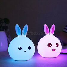 Rabbit LED Night Light Colorful Silicone Children Bedside Lamp Kid Baby Gift USB