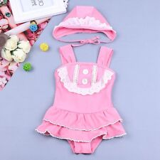 Kids Baby Girls Swimwear Floral One piece Swimsuit+Cap Bikini Set Bathing Suit