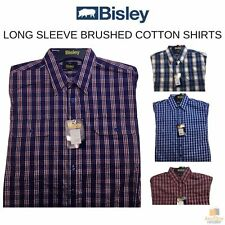 BISLEY BRUSHED COTTON Long Sleeve Shirt Everyday Casual Business Work Check