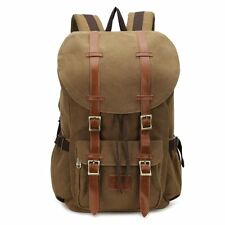 Travel Canvas Leather Backpack Sport Rucksack Camping School Satchel Hiking Bags